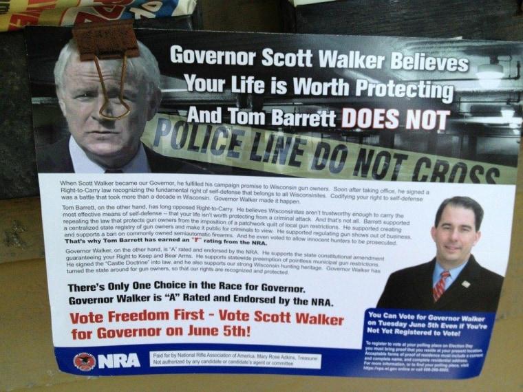 Seen in Wisconsin: Scott Walker values your life