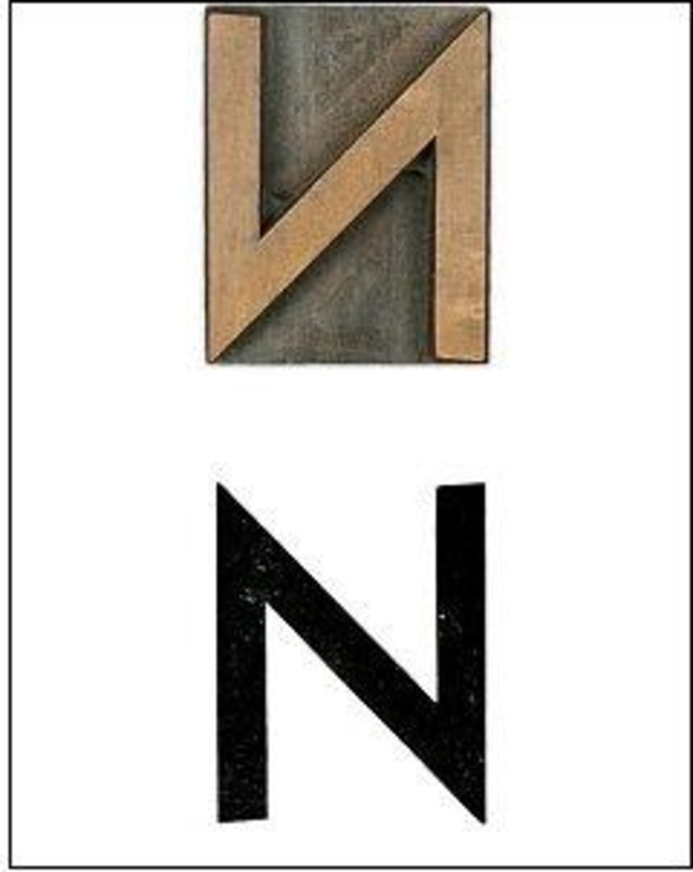 "A letterpress ""N,"" in this case 10-point Kabel."