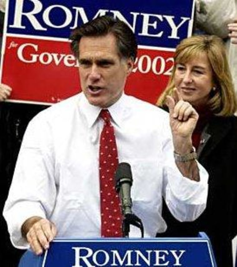 Mitt Romney in Massachusetts in 2002, during happier Bay State times.
