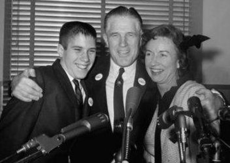 Romney as a teenager, with his parents.