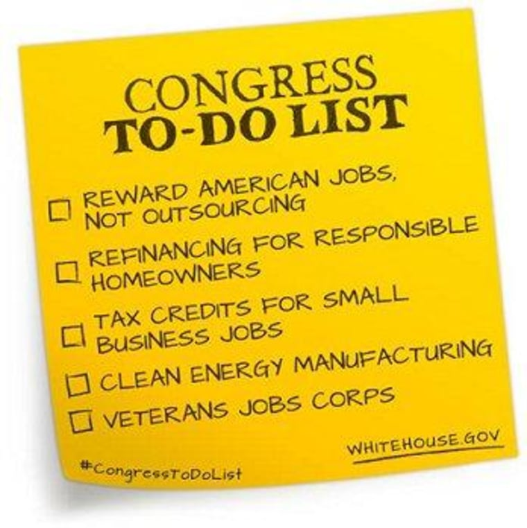 Obama gives Congress an economic 'to-do' list