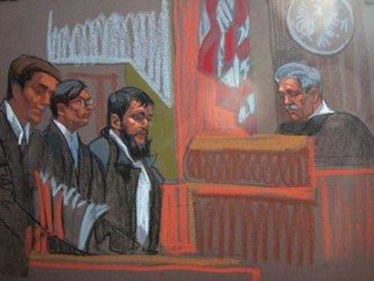 Artist rendering of Adis Medunjanin in a New York courtroom.