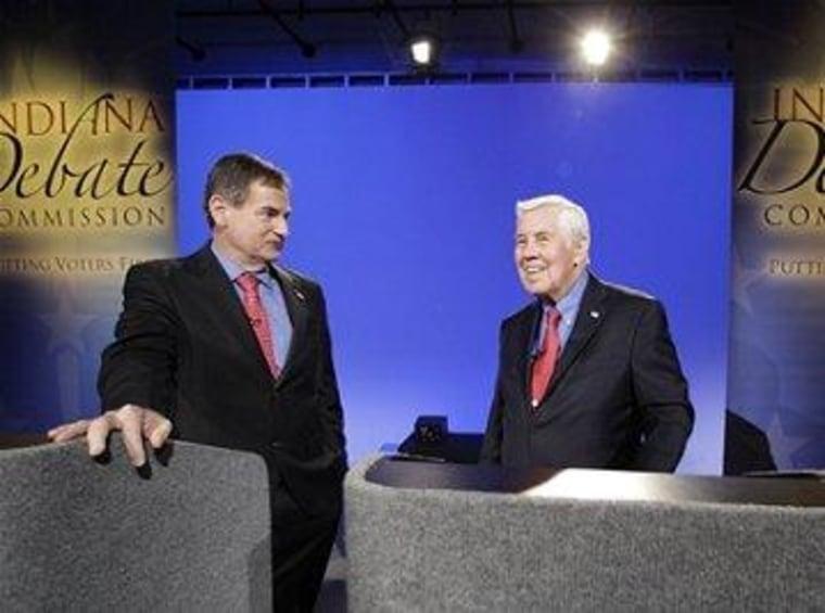 Richard Mourdock (left) and Sen. Dick Lugar (right).