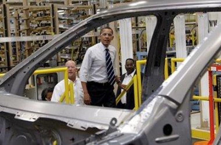 Obama visits a Chrysler plant in Detroit.