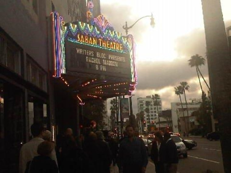 Folks waiting outside the Saban Theatre for Writers Bloc with Rachel Maddow and Bill Maher.
