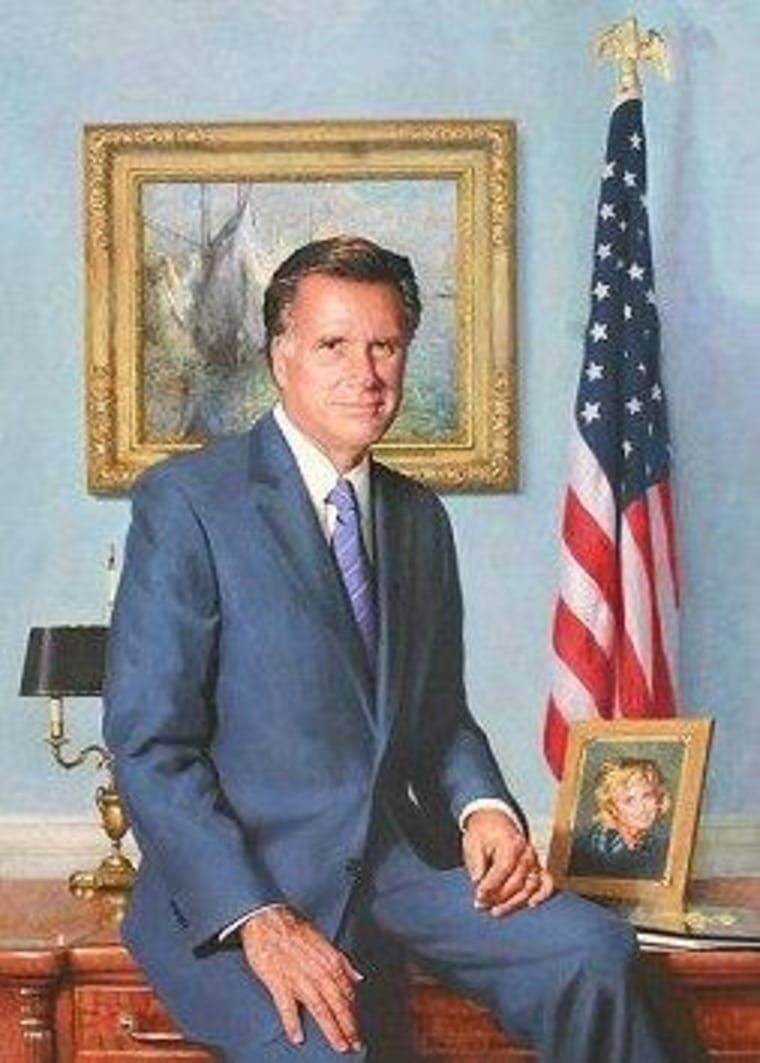 In his official portrait, Romney sits alongside his health care law, which he doesn't want to talk about.