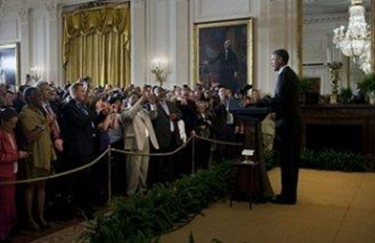 President Obama delivers remarks at an event observing 2011 LGBT Pride month in the White House.