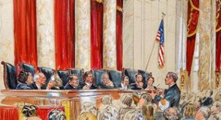 An artist rendering from last week's high court deliberations.