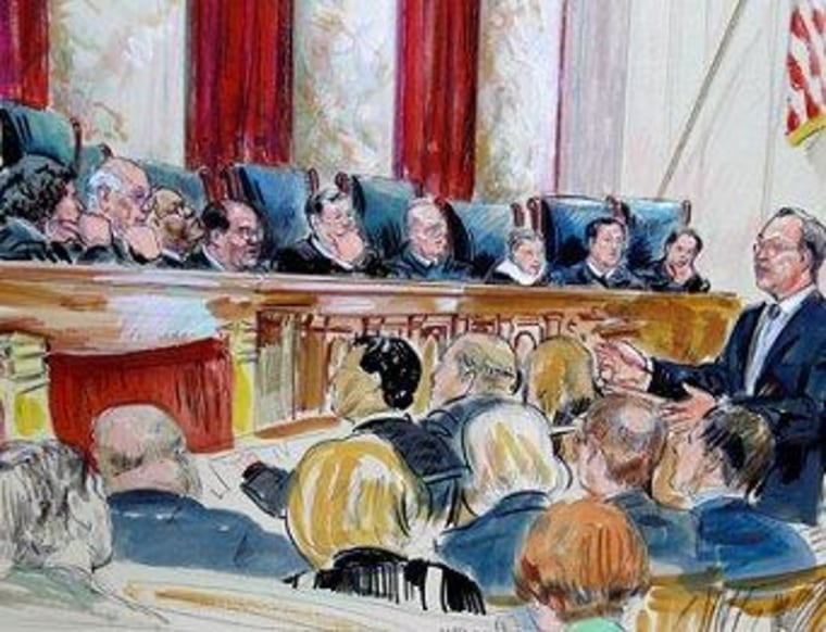 Artist rendering of Paul Clement arguing in front of the Supreme Court yesterday.