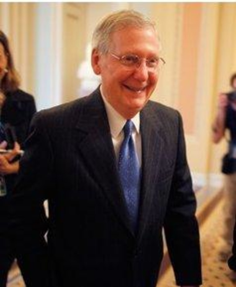 Giving up on creating a health care plan makes Mitch McConnell smile.