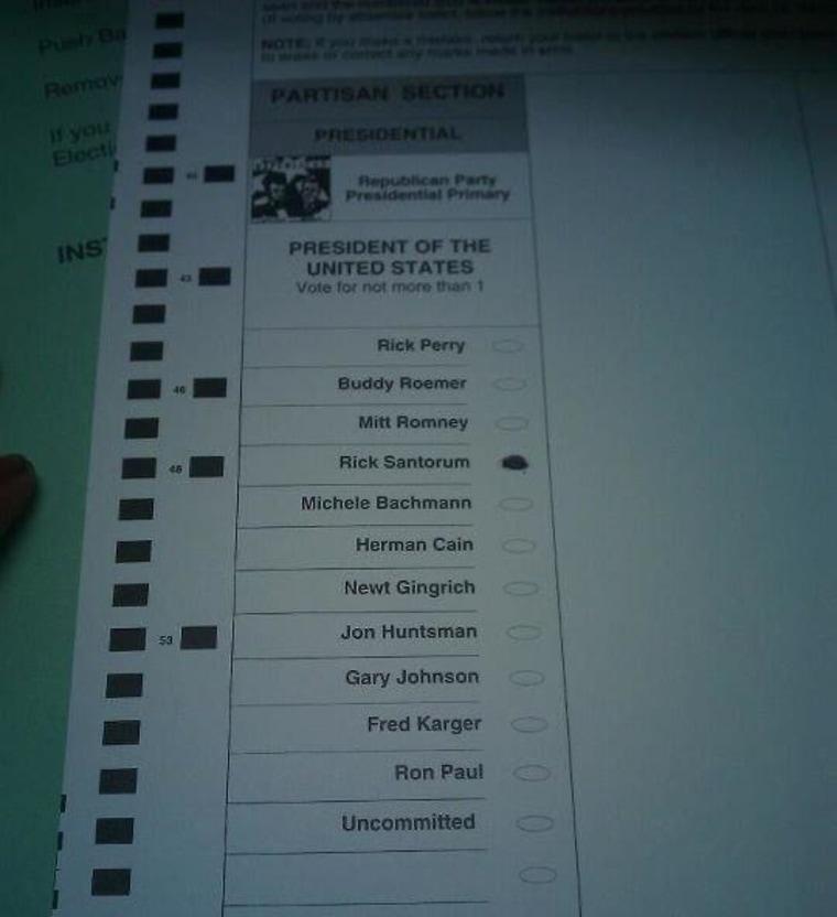 Pic: Democrat votes Santorum in Michigan