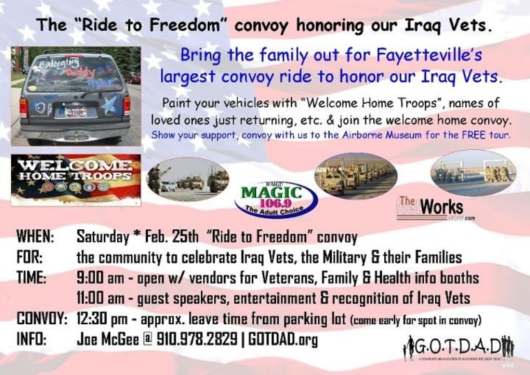 Details on Fayetteville's parade to honor Iraq war vets