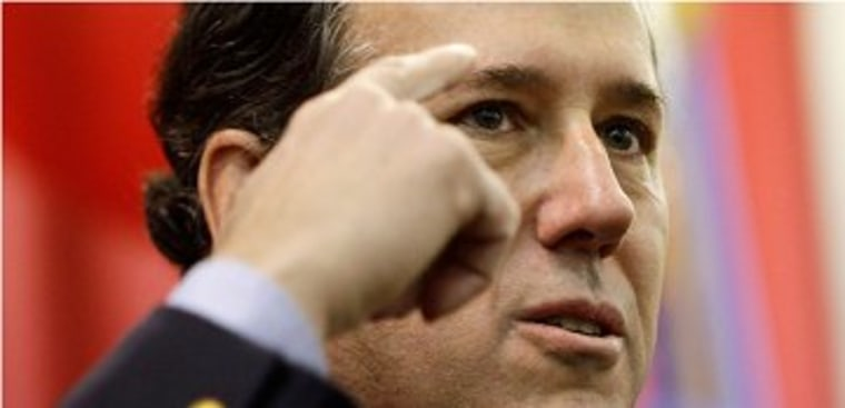 Santorum points to his elusive thinking cap.