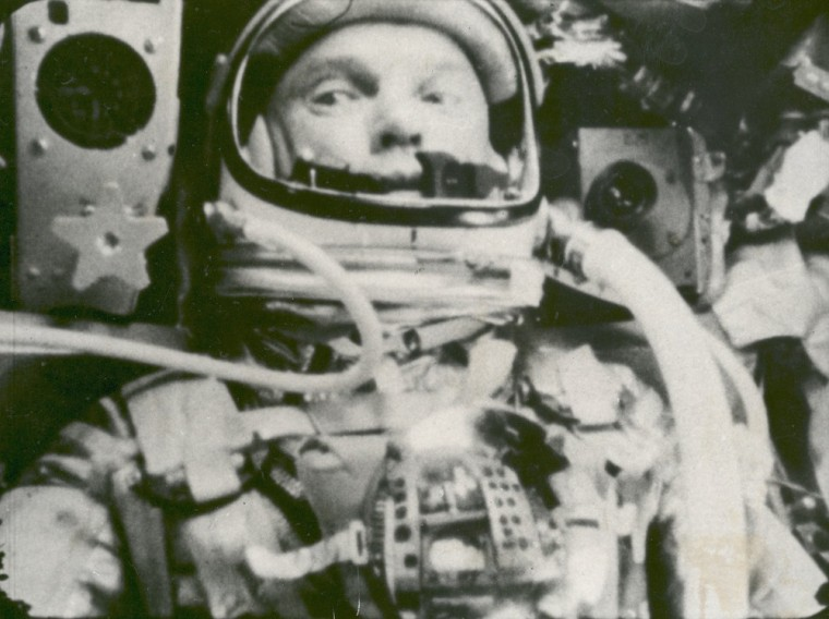 This Feb. 20, 1962 photo made available by NASA shows astronaut John Glenn during his space flight in the Friendship 7 Mercury spacecraft, weightless and traveling at 17,500 mph. The image was made by an automatic sequence motion picture camera. (AP...