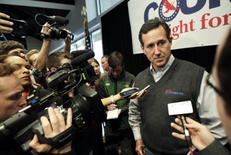 As Santorum gains more attention, he raises the rhetorical temperature.