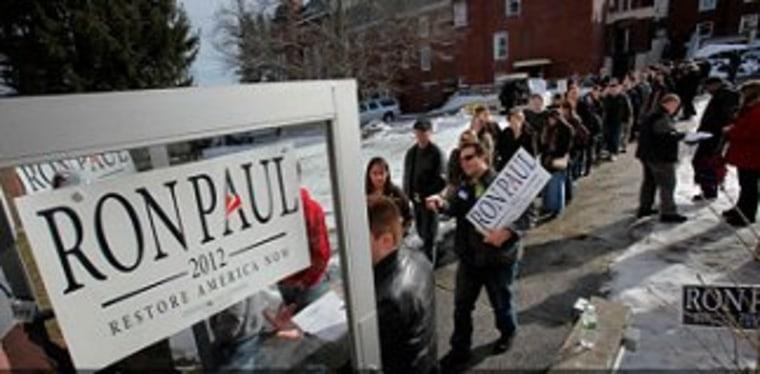 Republican caucus-goers gather in Maine.