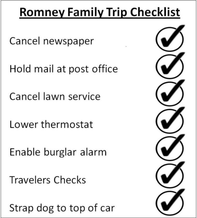 'The Romney Family Trip Checklist'