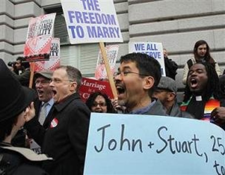 Prop 8 opponents cheer the ruling outside the 9th Circuit.