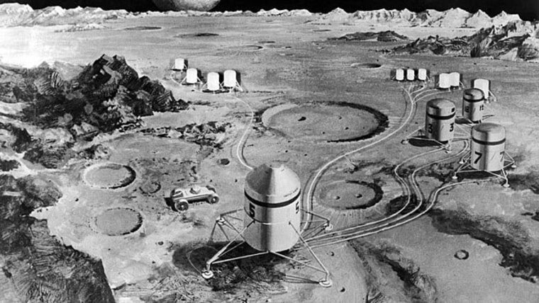 A lunar colony as imagined by American engineers, Sep. 26, 1969