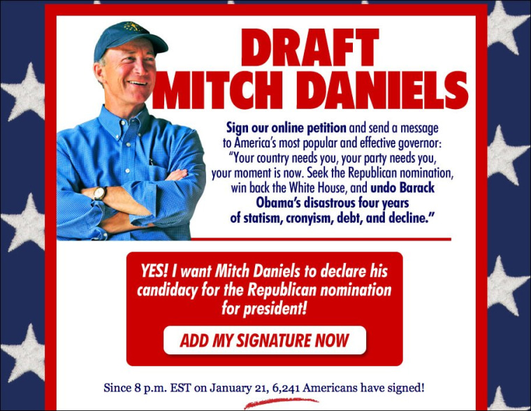 Cry from the conservative soul: 'Draft Mitch Daniels'
