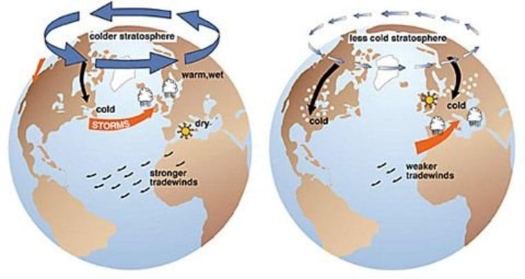 Positive versus negative Arctic Oscillation