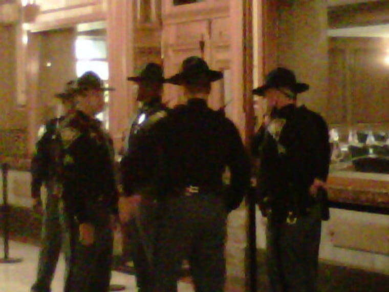 Inside the Indiana Statehouse this morning.