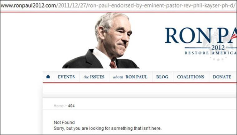 Ron Paul site pulls Kayser press release