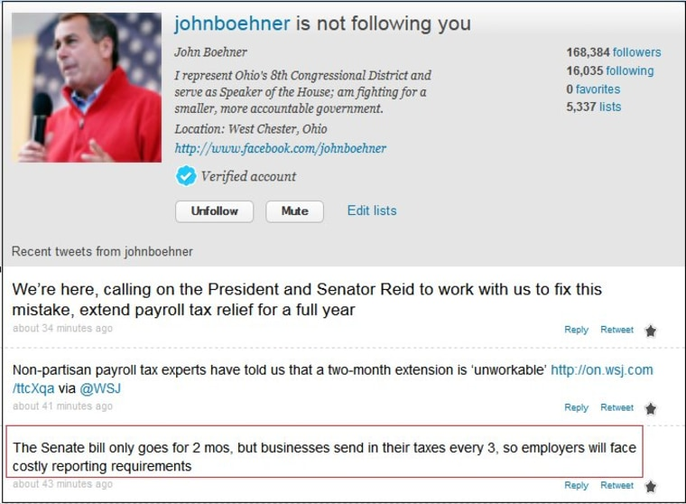 And no, @JohnBoehner is not following us.