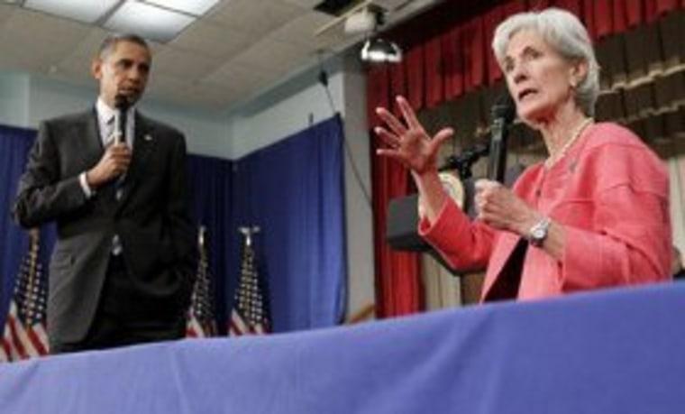 President Obama and Secretary Sebelius talking health coverage last year in Maryland.