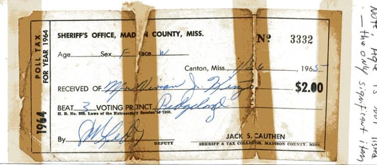 Mississippi poll tax receipt, 1965.