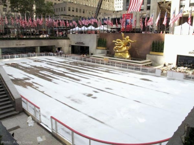 The ice skating rink at Rockefeller Center doesn't care if you're not ready yet.