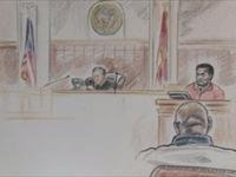 A sketch from the 2010 evidentiary hearing. Click for more.