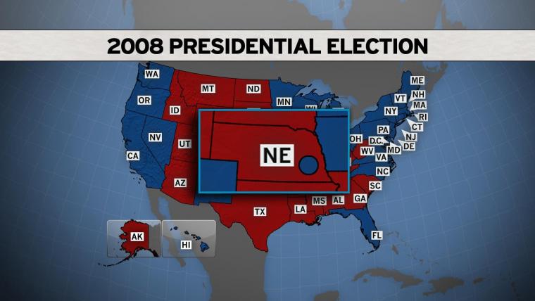 In 2008, Nebraska had one blue dot in a sea of red.