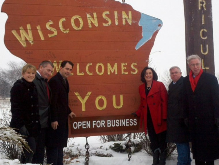 Governor Walker declares Wisconsin is open for business in January.
