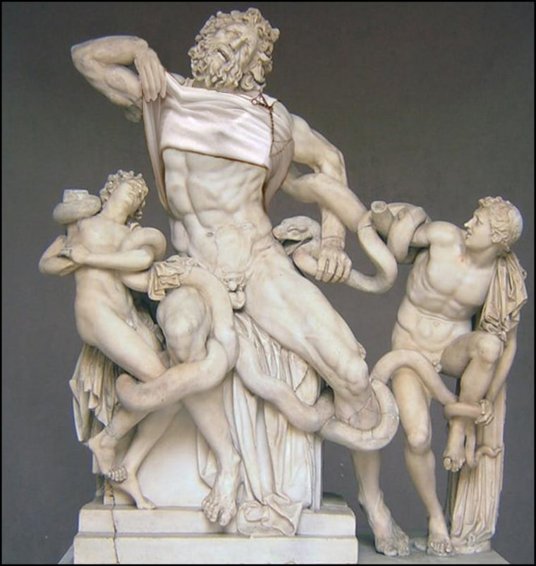 """Laocoon and His Sons, Rhodes Sculptors: 1st Century (with \""""situational\"""" augmentation: 21st Century)"""