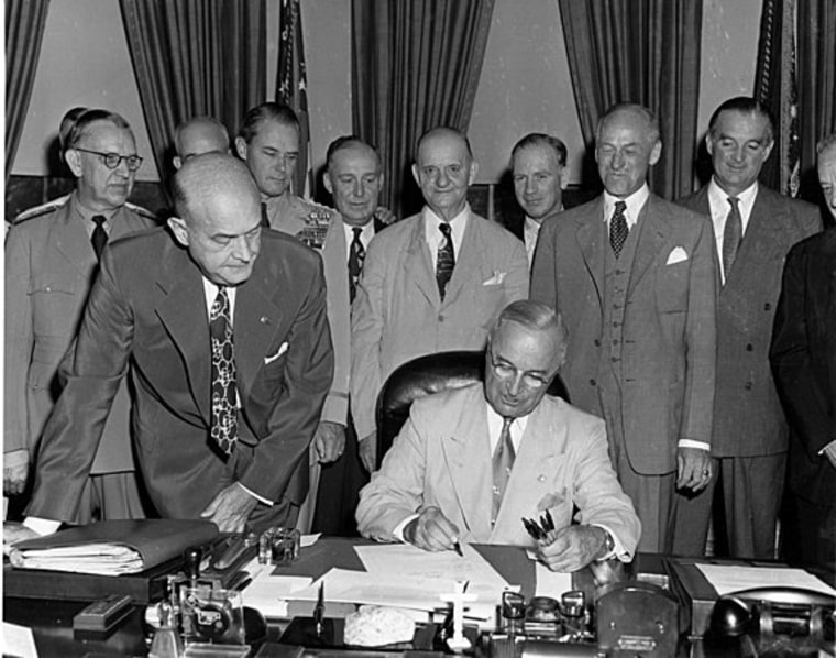 President Truman signs the 1947 National Security Bill creating the National Military Establishment; two years later the NME would be replaced by the Department of Defense.