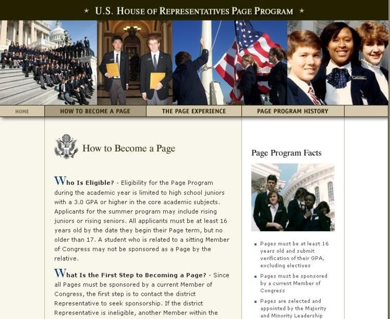 House Page Program website didn't get the memo