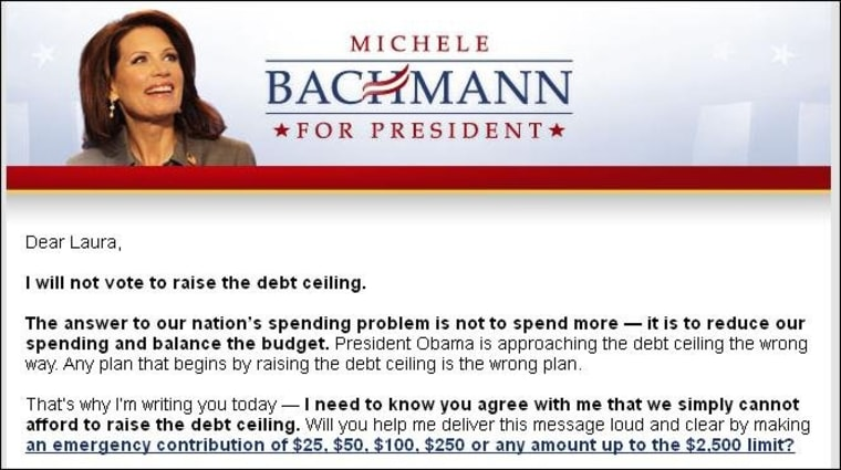 Bachmann raising money off promise to tank economy if she possibly can