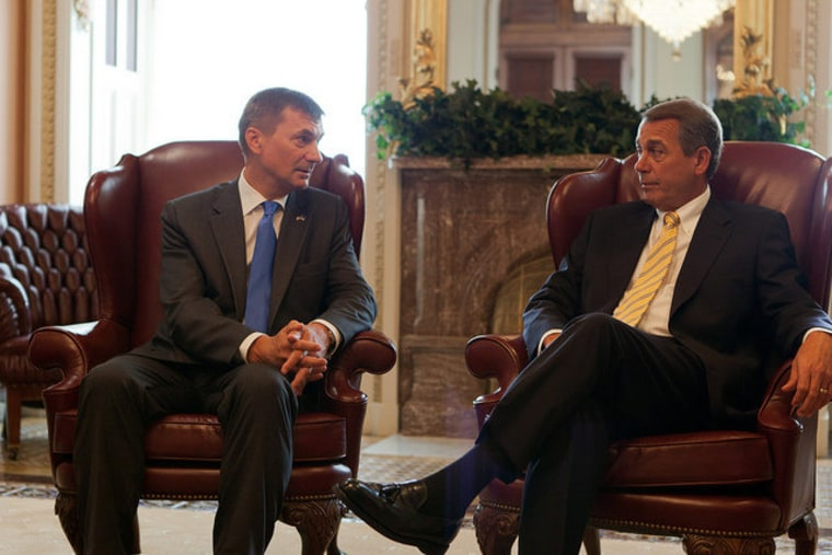 Meeting with Andrus Ansip, prime minister of Estonia, on Thursday.