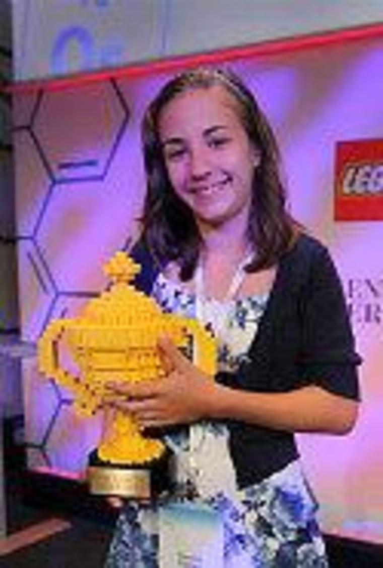 Lauren Hodge with her Lego trophy.