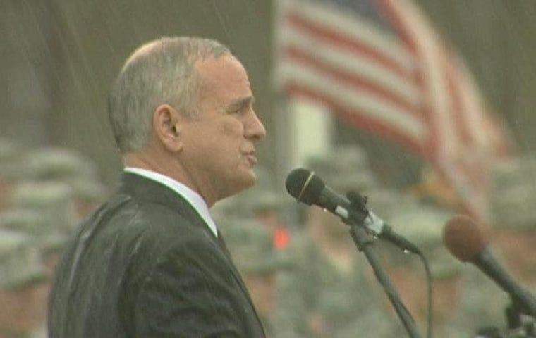 Governor Mark Dayton speaks to the Minnesota National Guard in May.