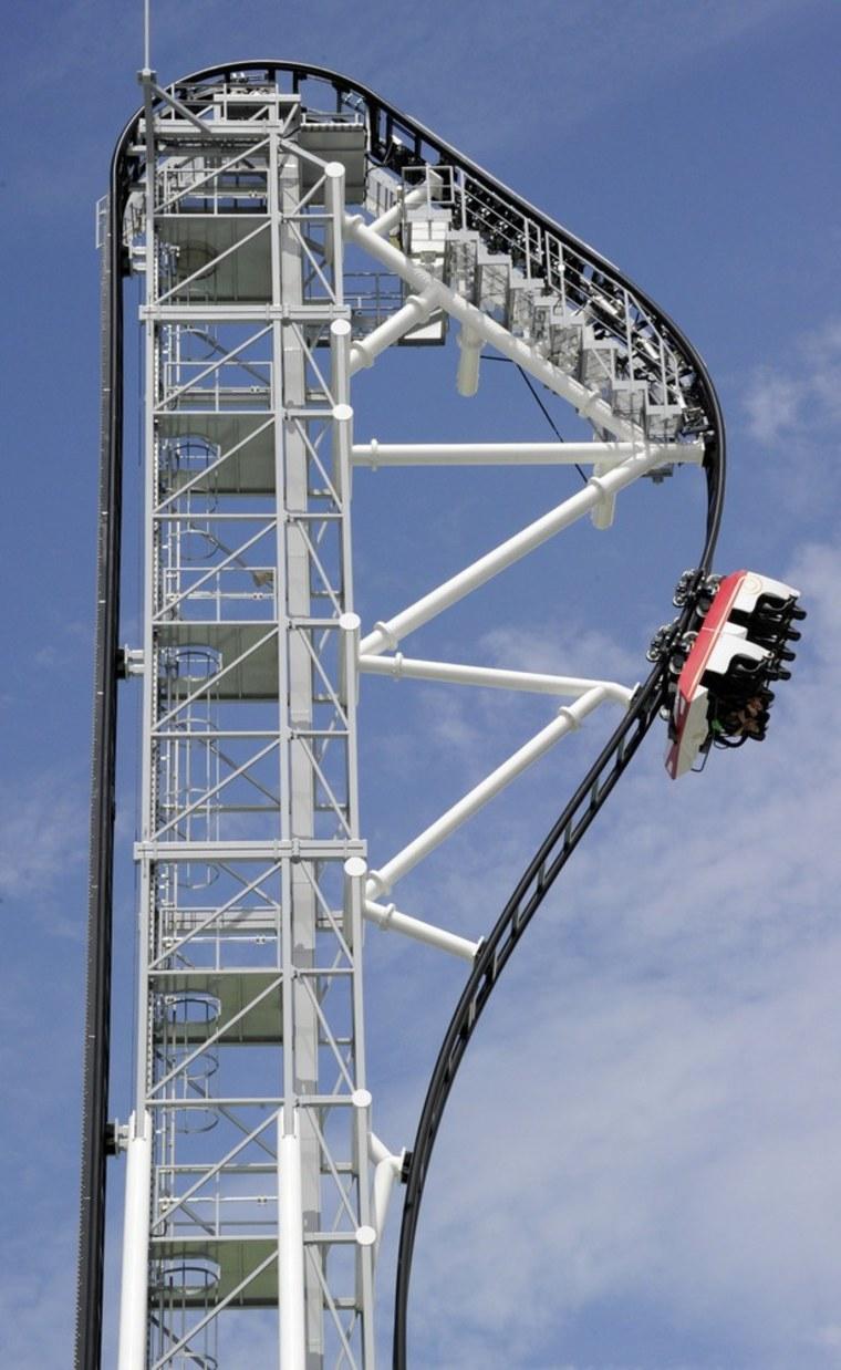 "Fuji-Q Highland amusement park world's steepest roller coaster \""Takabisha\"" with a free falling angle of 121 degrees"
