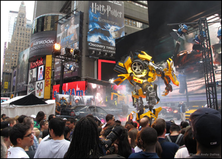 Only in Times Square does a Transformer not look out of place