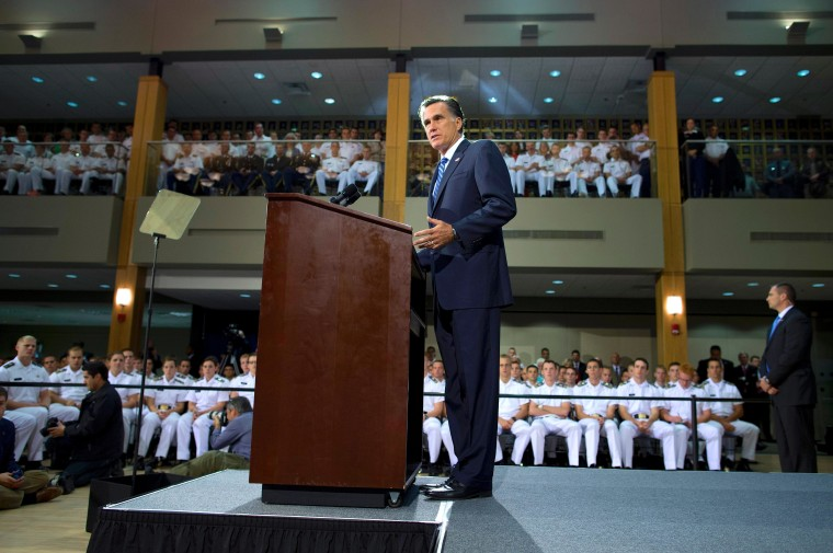 Republican presidential candidate Mitt Romney delivers an address centered upon foreign policy yesterday at the Virginia Military Institute.