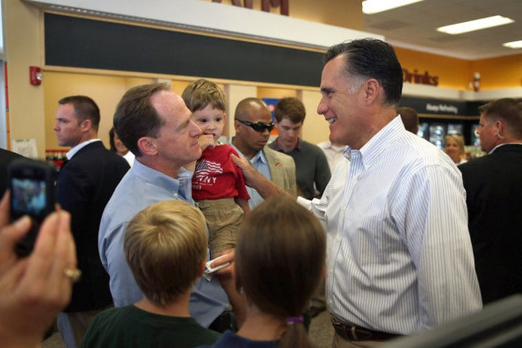 Former MA Governor Mitt Romney campaigns through swing states, seen here in June with Senator Pat Toomey (R-PA)