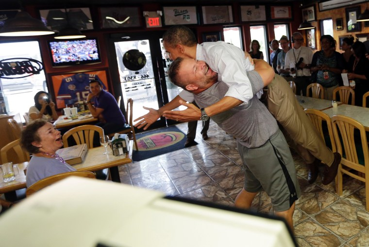 Republican small-business owner hugs Obama
