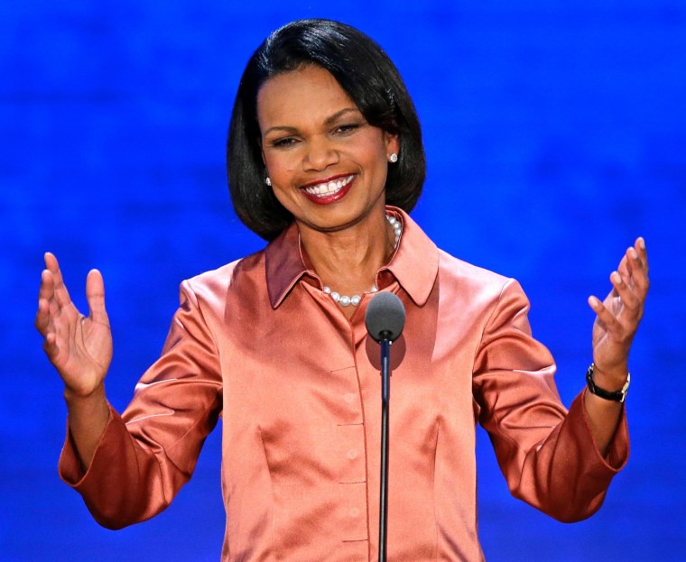 Former Secretary of State Condoleeza Rice addresses the Republican National Convention on Wednesday.