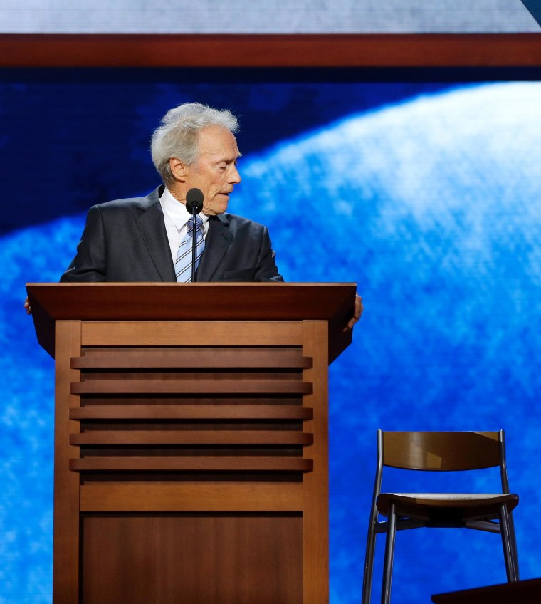 Clint Eastwood addresses an imaginary President Obama during his Republican National Committee speech on Thursday night.