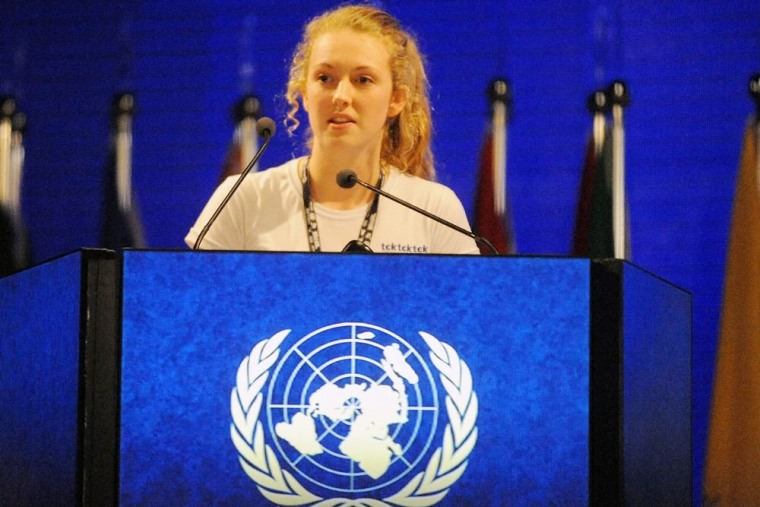 New Zealand student Brittany Trilford addresses the United Nations Conference on Sustainable Development in Rio de Janeiro, Brazil.