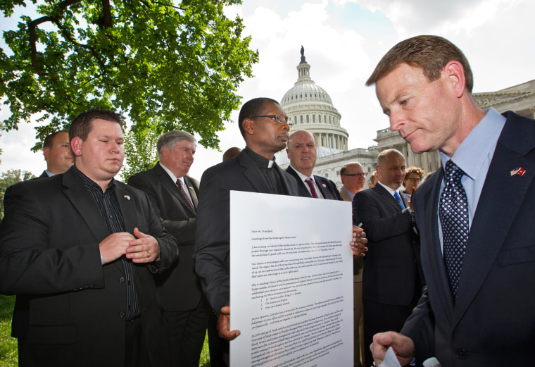 Family Research Council President Tony Perkins and these other pastors protesting President Obama's position on same-sex marriage last week. They lost today.